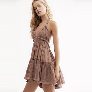 Boho Mesh Dots Hem Backless Halter Swing Dress